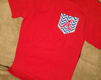 Atlanta braves navy pocket t shirt pocket tee mlb shirt for Atlanta custom t shirts