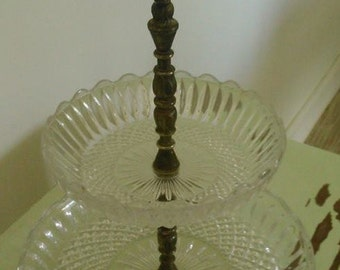 Vintage cut glass and pewter 2 tiered cake stand