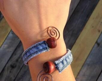 Denim Jean and Wire Bracelet