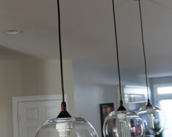 Modern glass globe/orb crystal ball pendant light: set of 3
