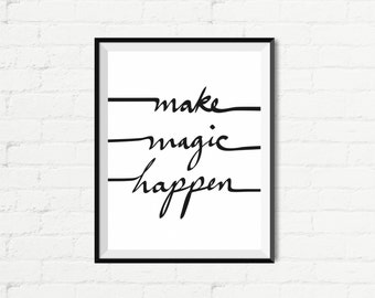 """Inspirational Quote Wall Decor """"Make Magic Happen"""" Typography Print Inspirational Poster Instant Digital Printable Download2"""