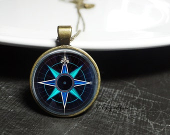 Teal Glass Compass Necklace Teal and Blue Compass Jewelry Antique Bronze Antique Necklace Compass Present Compass Necklace Teal Blue Jewelry