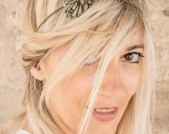 Headband hair jewel, model bronze butterfly. Feminine, retro, wedding