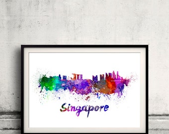 Singapore skyline in watercolor over white background with name of city 8x10 in. to 12x16 in. Poster Wall art Illustration Print  - SKU 0206
