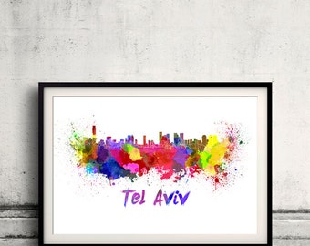 Tel Aviv skyline in watercolor over white background with name of city 8x10 in. to 12x16 in. Poster Wall art Illustration Print  - SKU 0339