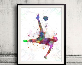 Man flying kicking playing soccer football 8x10 in. to 12x16 in. Poster Digital Wall art Illustration Print Art Decorative - SKU 0518