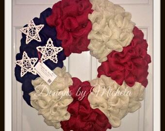 Burlap America Wreath, BR059