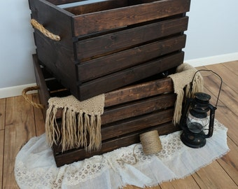 Rustic Wood Crates with Rope Handles - Bundle (L & XL)