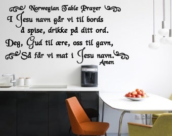 Norwegian Table Prayer - Vinyl Wall Decal - I Jesu navn - Vinyl Wall Art - Wall Decor - Norway - Norwegian - Prayer - Vinyl Lettering