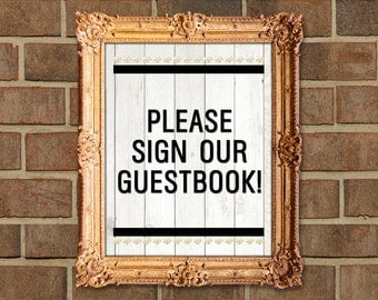 Modern Hearts Gold Glitter Wood Wedding Guestbook Sign