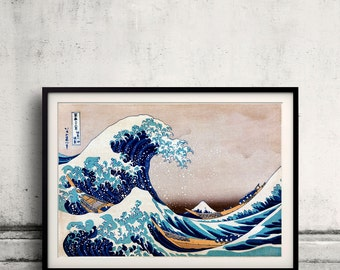 The Great Wave Katsushika Hokusai vintage Japanese poster Fine Art Glicée Poster Digital Wall art Illustration Print Decorative - SKU 0050