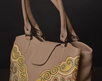 "Gorgeous leather handmade bag with ""point-to-point"" painting"