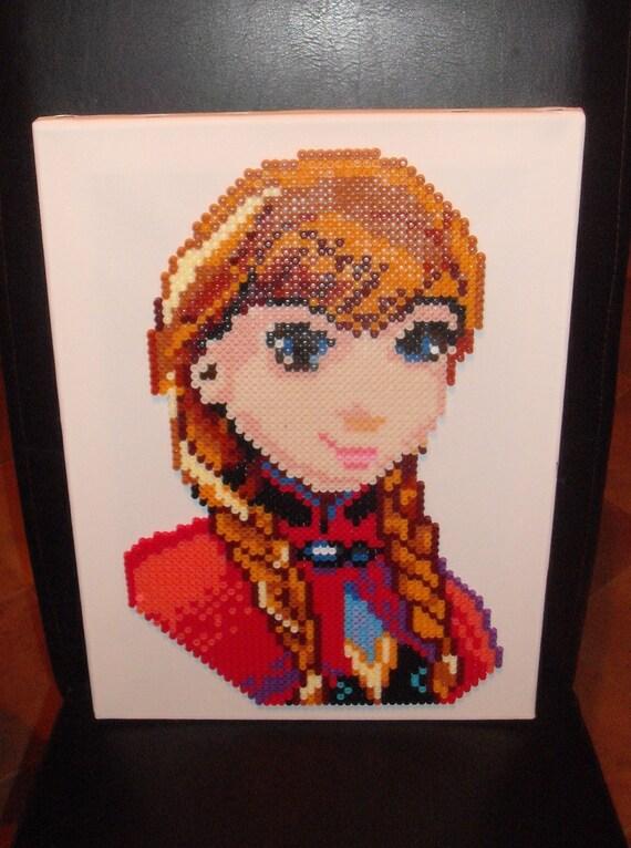 Frozen Anna Hama Perler Bead Designs. Characters Large Canvas Disney ... Disney Characters Female Names