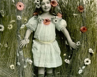 Hand colored Photo, Young girl out in field