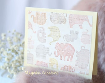Set of Two Pink Elephant Blank Cards, Blank Cards Set with Envelopes, Any Occasion Card