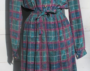 SALE Tartan Charles Guitard 1980s vintage dress