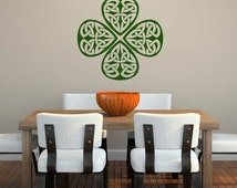 Shamrock Celtic Design Ireland Pride - Peel and Stick - Removable Wall Decal
