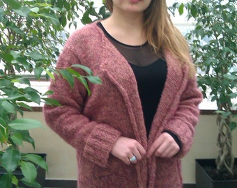 Warm knitted Maroon Cardigan with belt