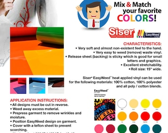 """6 yards """"SISER EASYWEED"""" Heat Transfer Vinyl (roll width 15 """")-Mix & Match your favorite colors * FREE Shipping *"""