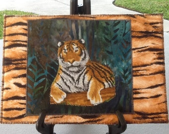 Tiger Tiger Quilted Fabric Postcard, Mini quilt ,Greeting Card  ,Postcard Art, Mailable Art  Tiger keepsake Fabric Art Card, Tiger Art