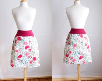 White Botanical Floral Print Aline Skirt Stretch Cotton Twill Pull on knee length Skirt with a Pocket - Made to Order