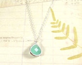 Mint Green Gem Necklace / Mint Green + Sterling Silver Necklace, Aqua Chalcedony Gem Necklace