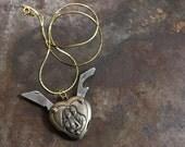 Eternal Love Heart Shaped Pocket Knife Bottle Opener Necklace