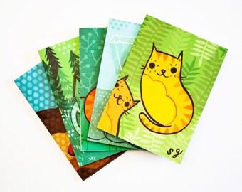 CAT CARDS, cat greeting cards, cat card set, cat notecards, blank notecard set, cat illustration notecards, cat art cards, greeting card set