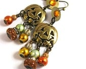 Jack O'Lantern Dangle Earrings - Halloween Jewelry Boho Gypsy Hippie - Orange Copper Red Brass