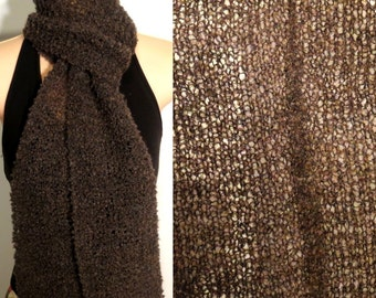 Hand Knit Scarf Lace Alpaca Wool Boucle Chocolate Brown