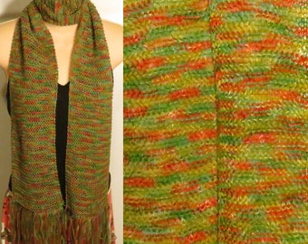 Hand Knit Scarf Lace Handpainted Silk Cashmere green red