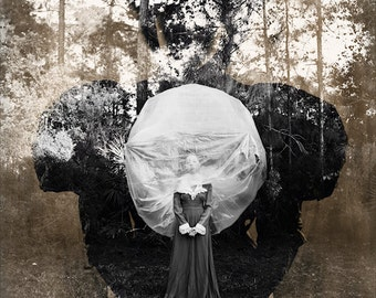 Ballooning FREE SHIPPING Surreal Photo Print Fine Art Nature Dark Portrait Creepy Sepia Black & White Double Exposure Vintage Wall Decor