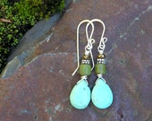 blue magnesite, olive green indonesian glass, and bronze czech glass beaded dangle earrings. bohemian. hippie. boho.