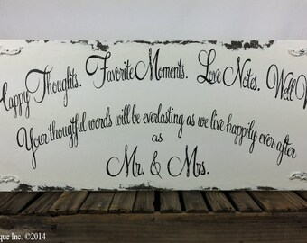 WEDDING SIGN, Mr and Mrs Sign, Happy Thoughts, Favorite Moments, Love Notes Well Wishes, Rustic Wooden Wedding Sign, Shabby Chic Sign
