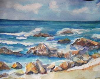 Aruba Seascape Watercolors paintings original, Aruba  original watercolor painting, rocky beach artwork, sea off Aruba painting, marine art