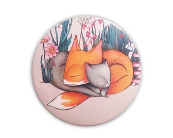 Fox Cat pocket mirror - Foxes and cats accessories stocking fillers stuffers