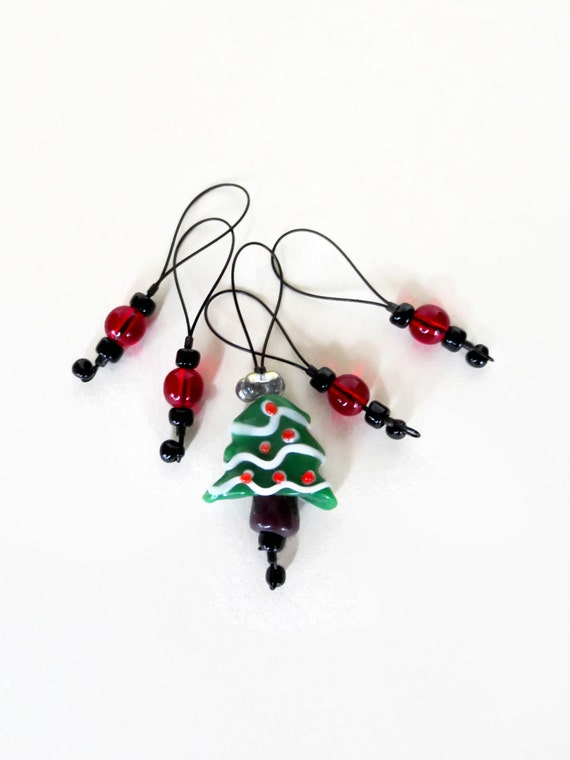 stitch markers / christmas tree xmas / knitting gift / row counter tool / snag free stitchmarkers / stocking stuffer christmas holiday gift