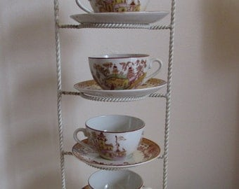 Set of 4 Gilman & Co. Sacavem Portugal Japanese Garden antique teacup and saucer sets (very rare)