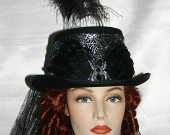 "Gothic Hat Victorian Hat Steampunk Hat Halloween Hat ""Countess Dracula"" Vampire Hat Black Top Hat"