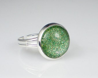 Glittery Green Nail Polish Ring China Glaze This is Tree Mendous Nail Polish Adjustable Ring Jewelry