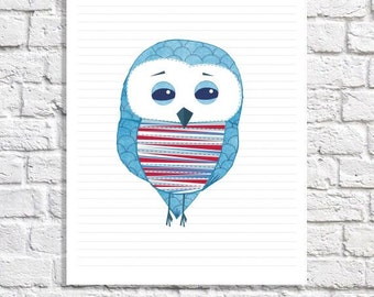 Red And Blue Nursery Boy Wall Art Owl Prints For Navy Nursery Baby Boy Artwork Little Boy Room Decor Kids Poster Childrens Picture 8.5 X 11