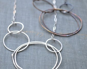 Asymmetric Multi Circle Necklace- sterling silver or oxidized brass