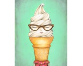 ILL-Humored Ice Cream - Twisty Cone,  archival print of an original painting by Anna Tillett Designs