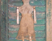 Primitive Doll, Clothespin Doll, Early American Rag Stuffed Doll, Makedo Make Do Make-Do Rag Doll, Early Style Decor - READY TO SHIP