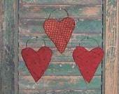 3 Heart Ornaments, Primitive Heart Ornaments, Red Antique Quilt, Tattered Hearts, Christmas Ornaments, Valentine Hearts, Red White Polkadots