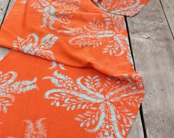 orange and pale blue thistles silk/cotton batik scarf