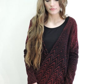 Red and black ombré acrylic cardigan
