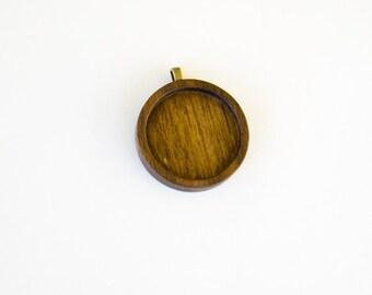Finest Quality Hardwood NO Laser Pendant Tray - Walnut - 30 mm - Brass Bail - (Z303-W)