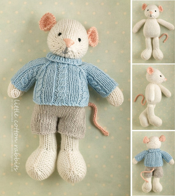 Knitting pattern for a boy mouse toy with a cabled sweater and shorts