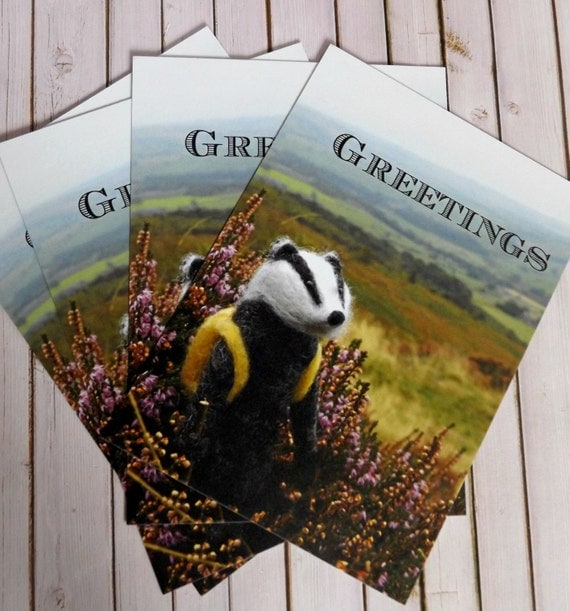 Needle Felted Badger Postcard - Art - card - stationary - 1 postcard - handmade